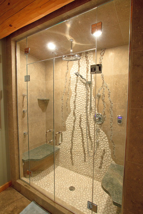 You Dont Have To A Huge Bathroom Shower In Luxury This By Traditional Log Homes Fits The Same Space As Tub Combo Unit That It