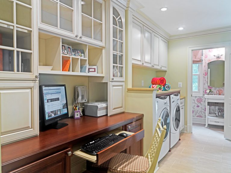 Home office and laundry room combo