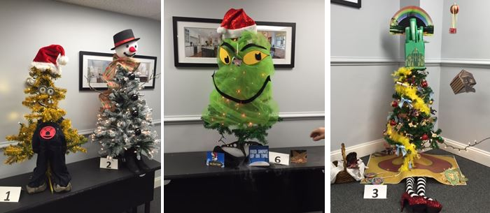 Minions, a snowman, The Grinch and Wizard of Oz themed trees