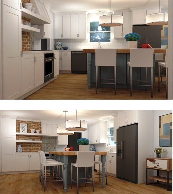 Different shots of 3D kitchen rendering