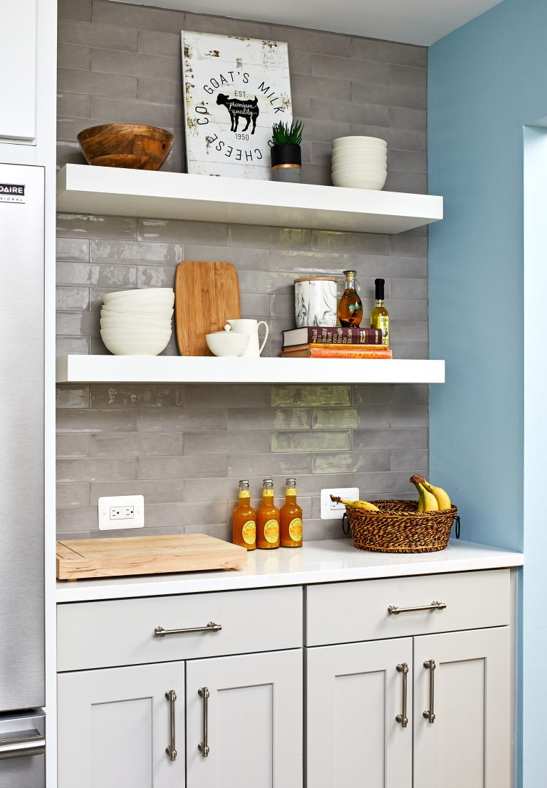 kitchen remodeling with cabinets with pull handles and open floating shelves
