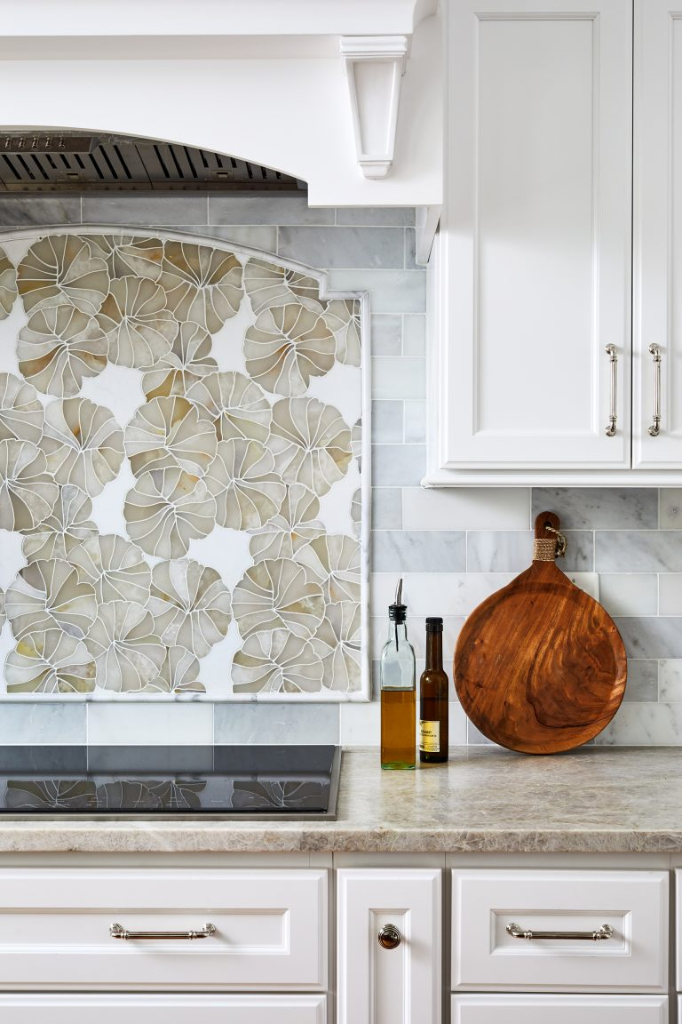 remodeling northern virginia design kitchen with Backsplash with flowers, white panel kitchen range hood with white corbels