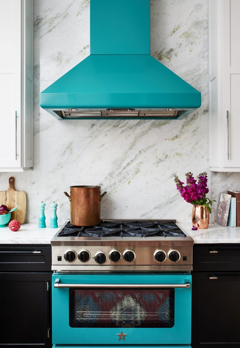 kitchen stove hood turquoise with matching stove and black cabinets