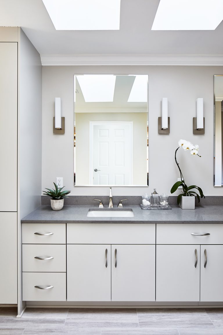 bathroom renovation vanity light sink mirror with white cabinets
