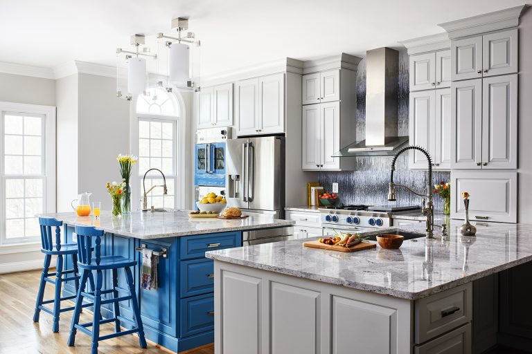kitchen in McLean Virginia with blue cabinetry and a large island