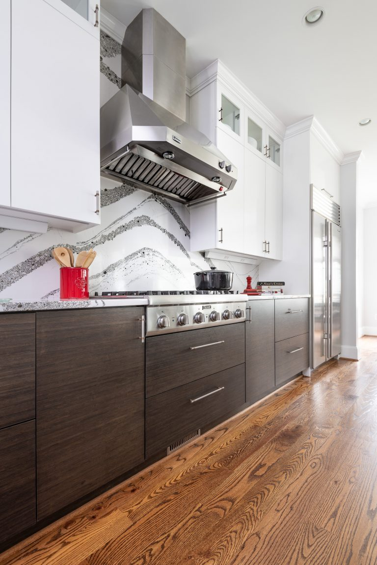maryland kitchen stainless steel range hood fan above range top with 6 gas burners