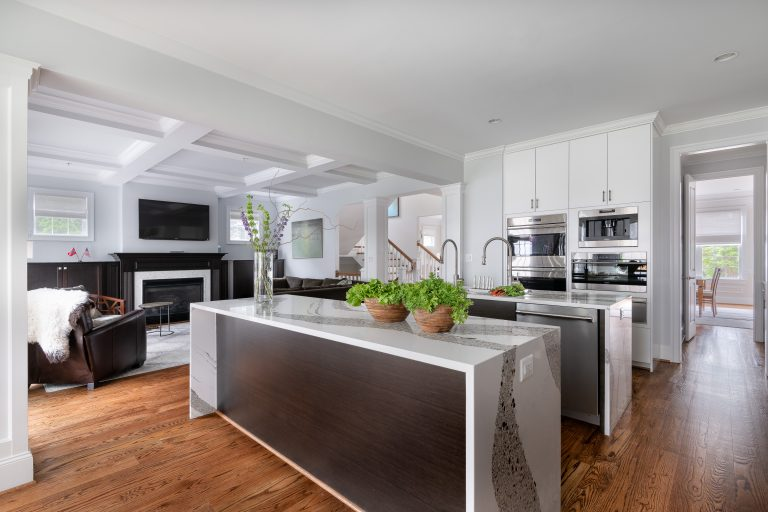transitional marble top double kitchen islands